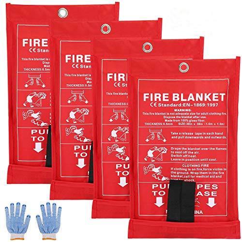 SAINUOD Feuerlöschdecke Notfall für Küche, Unterdrückung, flammhemmende Sicherheitsdecke für Zuhause, Schule, Kamin, Grill, Auto, Büro, Lager (4 Stück)