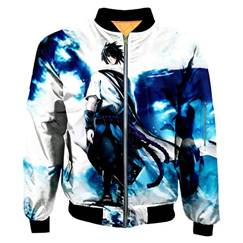 THIMEN Heren Pullover Levis Naruto New 2019 Naruto Japan Blood Cartoon voor mannen 3D bedrukt digitale jas vliegkostuum jeugd casual Sasuke Uchiha wit