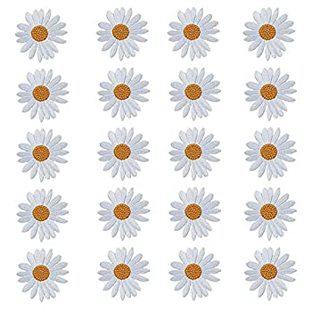 MIAO JIN 20 Pcs Daisy Flower Patch Embroidery White Flower Applique Iron on for Garment Accessory