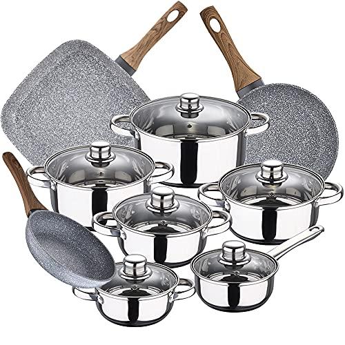 Bateria de cocina 12 piezas SAN IGNACIO Cassel, acero inoxidable, con juego sartenes (18/20 cm) con asador 28x28 cm Daimiel en aluminio forjado