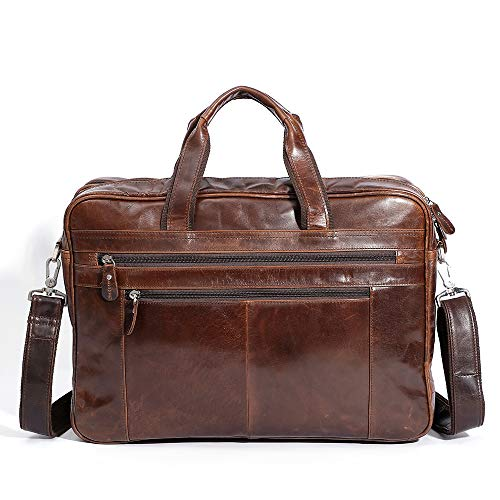 Business Retro Leather Men's Bag, Multi-function 17-inch Computer Briefcase,Men's Handbag,Leather Computer Bag (brown)