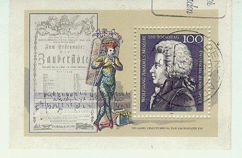 Mozart Wolfgang Amadeus - 200.Todestag - 200 Jahre Uraufführung der Zauberflöte 1791 - BRD/Bund - Komponist Noten Zauberflöte (Briefmarken für Sammler) gestempelt 100 Pf./Pfennige [Briefmarken, MiNr Bl 26]