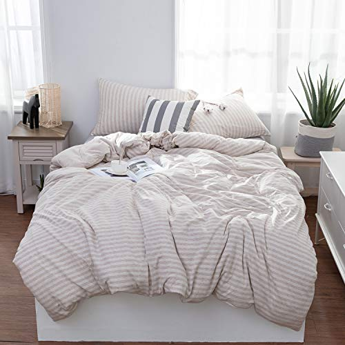 LIFETOWN Jersey Knit Cotton Duvet Cover Queen, 1 Duvet Cover and 2 Pillowcases, Striped Duvet Cover Set, Extremely Soft and Breathable (Full/Queen, Light Coffee/Off White Stripes)