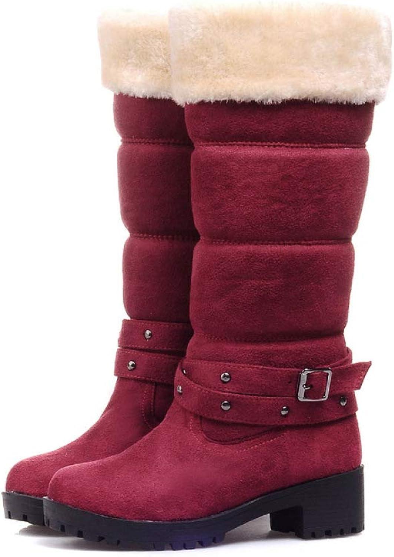 Winter Women Boots Wide Calf, Flat Grip Sole Fur Lined Warm Long Snow Boots,WineRed-CN40