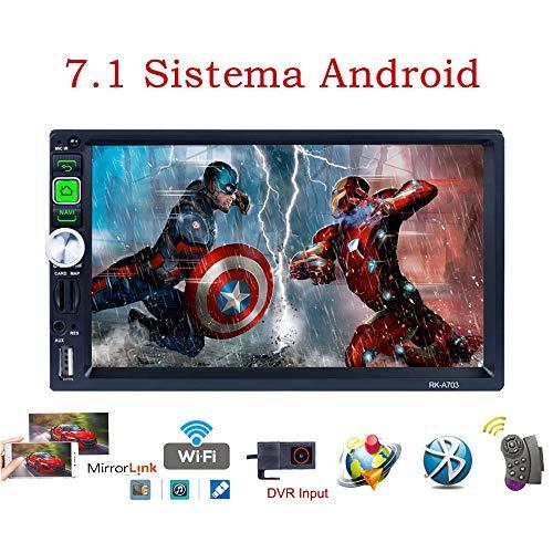 TOYOUSONIC Radio 2 DIN Android 7.1 Bluetooth Navegación GPS 7 Pulgadas HD Pantalla Táctil Apoyo Radio Am/FM/RDS Manos Libres Cámara Trasera USB WiFi con Control Remoto del Volante