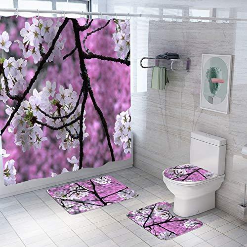 4 Pcs Cherry Tree Shower Curtain Set
