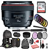 Canon EF 50mm f/1.2L USM Lens (1257B002) with Professional Bundle Package Kit for Canon EOS Includes: DSLR Sling Backpack, 9PC Filter Kit, Sandisk 32GB SD + More