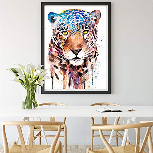 DIY 5D diamante pintura kit completo, Tigre, leopardo, colorido Diamond Painting adult/niño dot cristal Rhinestone punto de cruz bordado art decor de la pared del hogar Round Drill,40x60cm(16x24in)