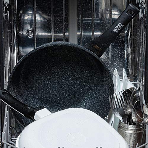 Sarten Wok Antiadherente de Aluminio Fundido, Wok Sartenes Antiadherentes 26cm Ø | Wok Vitrocerámica o Sarten Wok Induccion Tipo Cazuela | Wok Profesional Incluso con recubiramento Marmol
