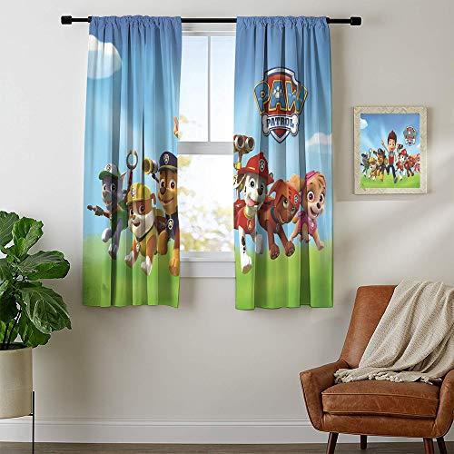 DILITECK - Cortinas opacas con aislamiento térmico oscurecido de la Patrulla Canina, cortina de privacidad insonorizada, cortina de ventana de 213 x 96 pulgadas (ancho x largo).