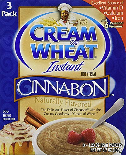 Cream of Wheat Instant Hot Cereal Cinnabon 3 - 1.23 oz Packs Per Box (2 Boxes)