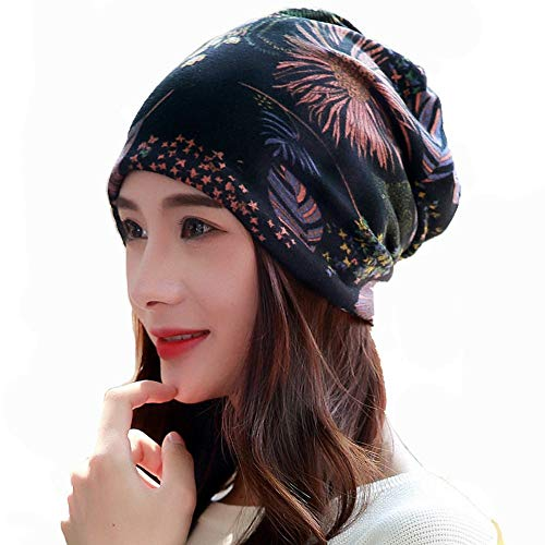 Alexvyan Women's Ponytail Crochet Knit Skull Warm Beanie Winter Cap Bandanas Headwear (Brown)