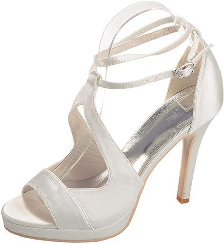 XYZJIA Chaussures Les Les dames Chaussures Sandales à Talons Hauts Sandales à Talons Bas, Blanc Ivoire, 35