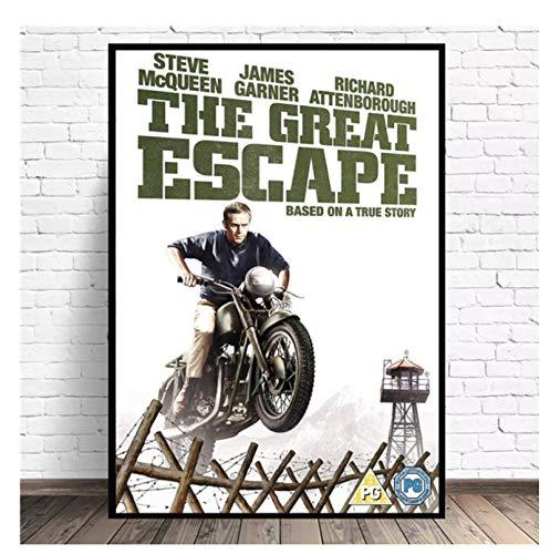 Klassiska filmaffischer Och -tryck Steve The Great Escape Kanvasmålning Konst Vardagsrumsdekor -50x70cm Ingen ram