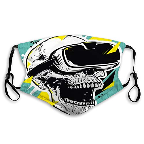 Anti Dust Face Cover Mouth Scraf Skull in Vr Glasses Pop Art of with Virtual Reality Device