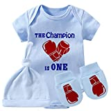 culbutomind Baby Zwillinge Body Boxhandschuhe Baby Outfit Lustig Baby Strampler Baby Mädchen Kleidung Set Gr. 56, Blue Champion is One Boxset