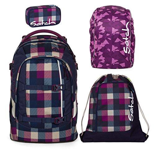 Unbekannt Satch Pack by ergobag 4er Set Schulrucksack + Sportbeutel + Schlamperbox Berry Carry & Regencape Purple