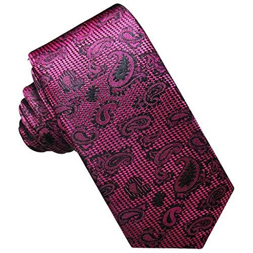 JOSVIL Corbatas Finas Pala de Seda. Corbatas Finas Hombre con Motivos Paisley en color Fucsia.