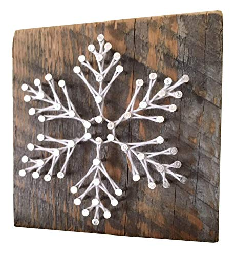 Sweet and small'Snowy' snowflake string art gift. Holiday string art gifts for Christmas, Hanukkah, teachers, secret santa, and co-wokers. Made in Maine. Stocking stuffer