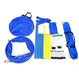 PawHut Set Entrenamiento Agility Agilidad Perros Salto Tunel y Slalom Azul...