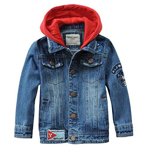 LAPLBEKE Jungen Jeans Jacke Kinder Denim Mantel Stickereien Outwear Frühling Herbst Oberteile Mit Kapuze 134-140