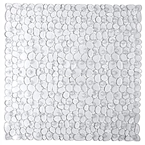 Bathsafe Square Shower Stall Mat 21X21Inch Machine Washable Bath Tub Mats Bathroom Mats with Suction Cups and Drain Holes,Clear