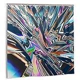 goodsaleA Cortina De Ducha,Fondo De Glitch Manipulaciones con Efecto 3D.Resumen Colorido Flujo De Cristales.Set de decoración de baño de Tela con Ganchos 150cmx180cm