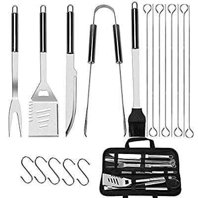 Brinman BBQ Grill Tools Set, 19PCS Stainless Steel Grilling Accessories Kit in Case,Barbecue Utensil Tool Gifts with Spatula,Tongs for Men, Women, Dad, Camping,Outdoor Picnic