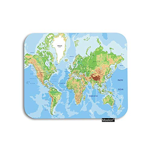 Moslion Map Mouse Pad World Map Country State Earth Mountain Ocean Land Gaming Mouse Pad Rubber Large Mousepad for Computer Desk Laptop Office Work 7.9x9.5 Inch Green Blue