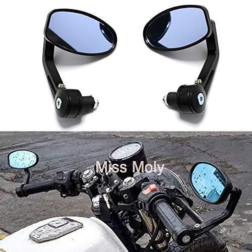 Espejo Lateral de la Motocicleta 7/8'22mm Espejos de Extremo de Barra de Manillar para Scooter Cruiser Chopper(Negro)