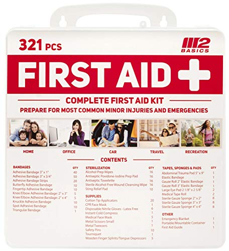 M2 BASICS 321 Piece Emergency First Aid Kit | Wall Mountable Case | Medical Supplies for Home, Office, Car, Travel