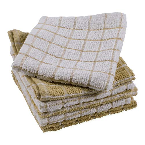 DII Terry Combo Windowpane Dishcloths Absorbant, Multi-Use, Fast Drying and Machine Washable, 12x12', Pebble 6 Piece