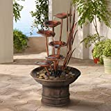 """John Timberland Water Lilies and Cat Tails Modern Outdoor Floor Fountain 33"""" High Cascading for Yard Garden Patio Deck Home Relaxation"""