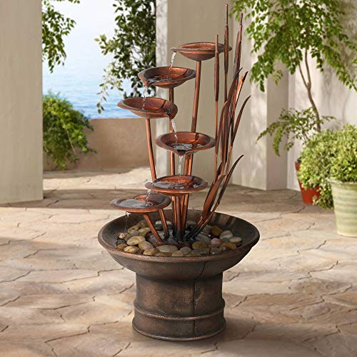 "Water Lilies and Cat Tails Modern Outdoor Floor Fountain 33"" High Cascading for Yard Garden Patio Deck Home Relaxation - John Timberland"