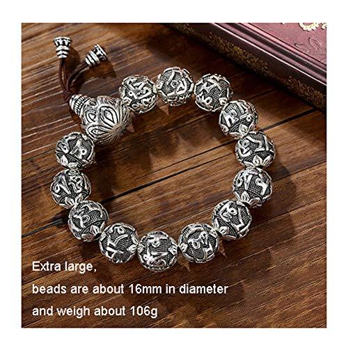 S999 Pulsera de plata completa con seis caracteres para hombres y mujeres, perlas redondas, estilo retro chino regalo de amigo, S999, 123, color, Plus