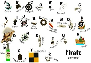 TomToy Pirate Theme ABC trinkets I spy Bag/Bottle, Language Objects, 1-3cm, 26 Objects