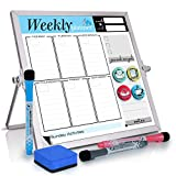 Small Desktop Calendar White Board -10'x10' Dry Erase Weekly Planner Magnetic to Do List Board with Stand, 3 Markers, 4 Magnets, Eraser - Portable Tabletop Whiteboard for Kids, Students & Office Desk