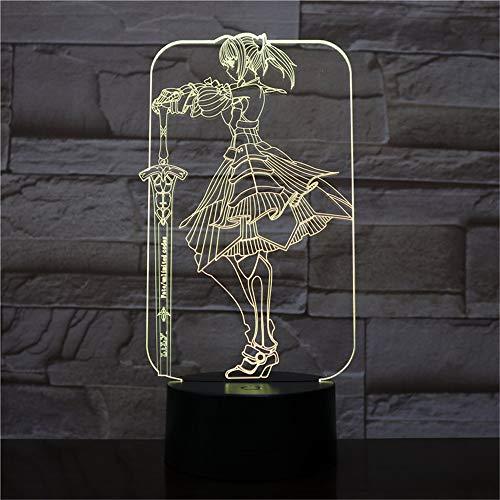 Anime Great Sword Girl 3D Optische Illusions Lampen LED Nachtlicht, 16 Farben Touch Control USB Tischlampe, Schlafzimmer Schreibtischlampe Für Kinder Weihnachts Geschenk Geburtstagsgeschenk