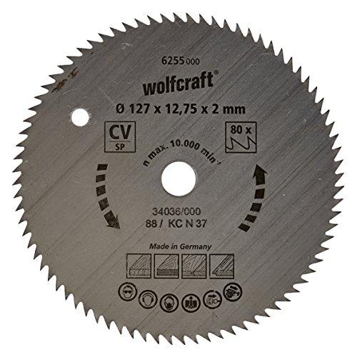 Wolfcraft 6255000 | Handkreissägeblatt CV | Serie blau | 80 Zähne | ø127mm, silber, 127 x 12