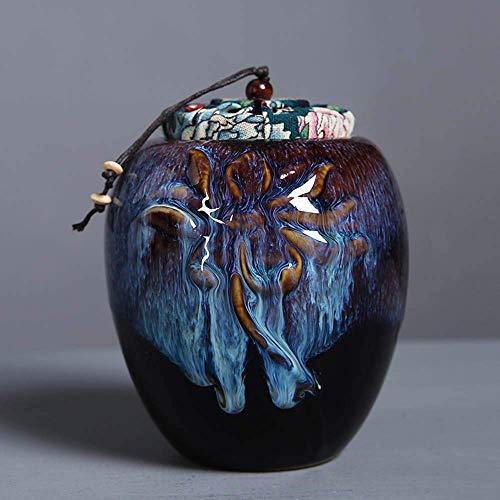 Mopoq Handgefertigte Keramik Pet Urn for Hunde, Katzen, Kaninchen, Kleintiere, Cremated Asche, Begräbnis Souvenirs, permanenter Speicher Boxes (Color : B)