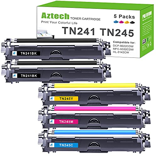 Aztech Kompatibel Tonerkartusche als Ersatz für Brother TN241 TN245 TN242 TN246 MFC-9332CDW DCP-9022CDW HL-3142CW MFC-9142CDN MFC-9140CDN DCP-9017CDW DCP-9020CDW (Schwarz Cyan Gelb Magenta, 5er-Pack)