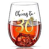 Bicchiere da Vino Senza Stelo di Buon Compleanno a 30 Anni Bicchiere da Vino di Regalo per Uomini Donne 30 ° Festa di Compleanno Nozze Anniversario Decor 17 oz