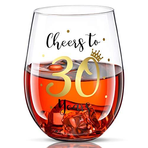 Prost auf 30 Geburtstag Stammlos Weinglas 30. Geburtstag Weinglas Geschenk für Männer Frauen 30. Geburtstag Party Hochzeit Jahrestag Party Dekorationen 17 Unzen