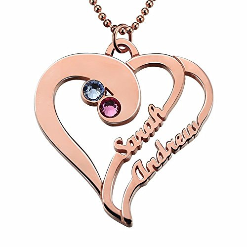 Collar personalizado con nombres de corazón, collar de piedra natal, collar de corazón, regalo de aniversario, Plata esterlina,