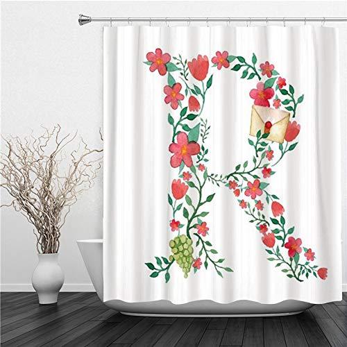 SUHETI Duschvorhang 180x180cm,Grünes anfängliches Aquarell Royal Floral Monogram R & ABC,Duschvorhang Wasserabweisend-Duschvorhangringen 12 Shower Curtain mit