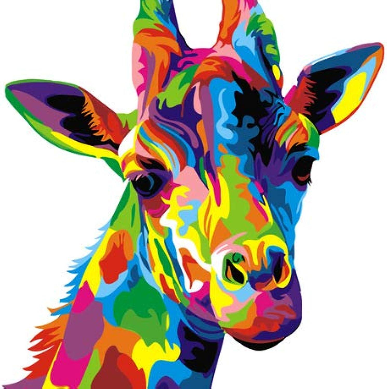 KYKDY Peinture sur toile de bricolage peinture à l'huile numérique peinture par numéros peinture animale sans cadre peint à la main rectangle vertical unique, 16x20, girafe Couleurée