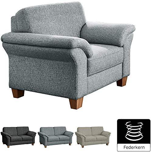 CAVADORE Sessel Byrum / Großer 1-Sitzer im Landhausstil mit Federkern / Passend zur edlen Sofagarnitur Byrum / 101 x 87 x 88 / Flachgewebe: Hellgrau