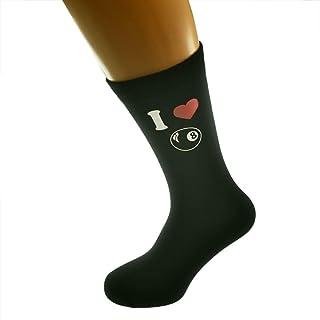 I Love Pool Ball Image Printed on Black Mens Cotton Rich Socks