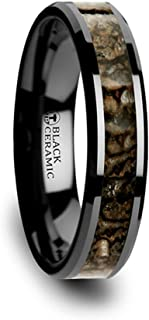 Thorsten Silurian Brown Earthtones Dinosaur Bone Inlay on Black Ceramic Wedding Band Beveled Edged Ring 4mm from Roy Rose Jewelry