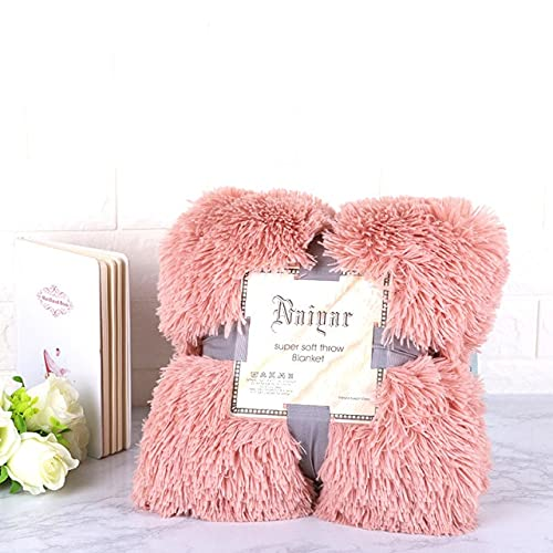Faux Fur anket Fluffy Shaggy Sofa ankets BeBedspreaBeige Sábana Blanca cálida para Ropa de Cama Cozy ankets-Bean Powder, Funda de Almohada 50x70cm